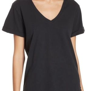 FRAME | black basic v neck tee with cuffed sleeves